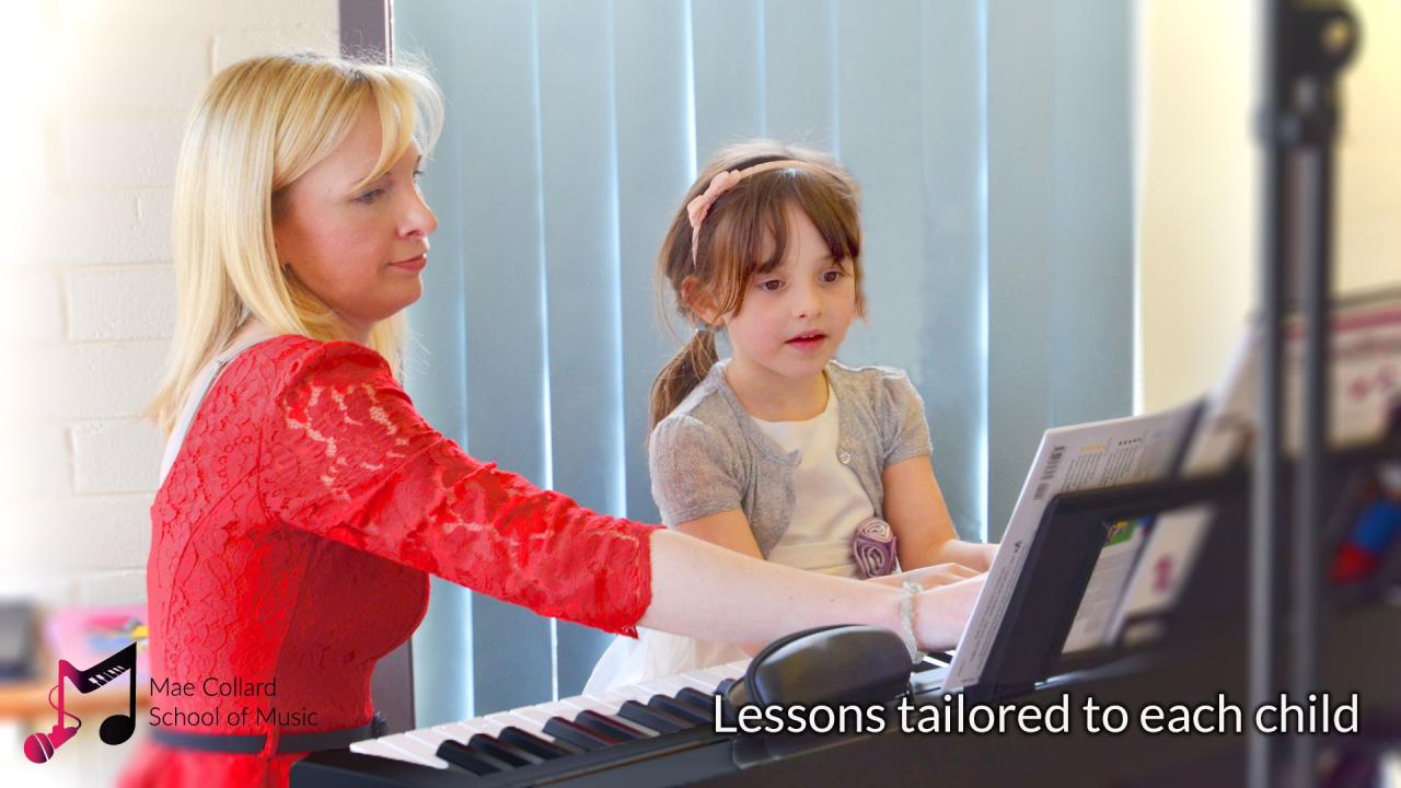 Teacher and student at piano - Lessons tailored to each child